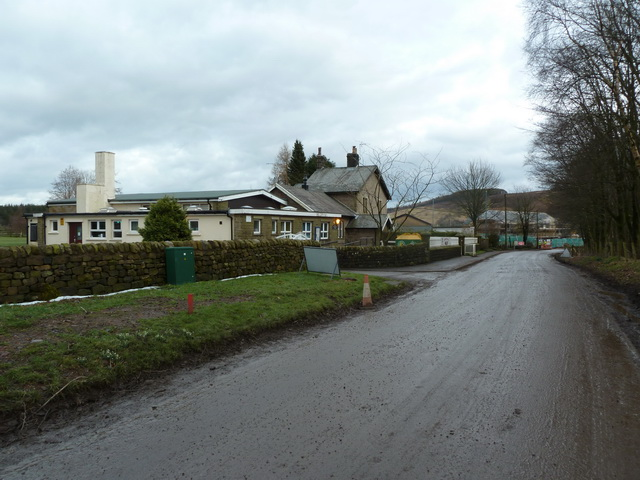 Trough Road outside Thorneyholme RC Primary School, Dunsop Bridge