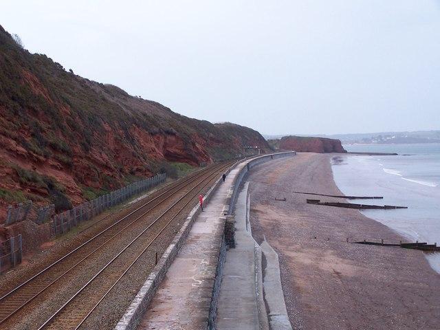 Coastal railway line towards Dawlish Warren