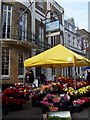 SY6990 : Flower stall outside Antelope Walk, Cornhill by David Martin