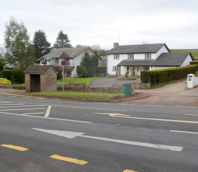 Two houses and a bus shelter, Penhow, Newport
