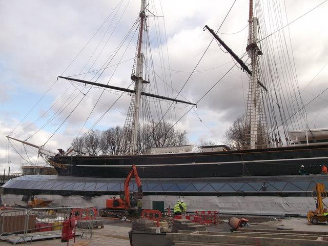 The Cutty Sark under re-development