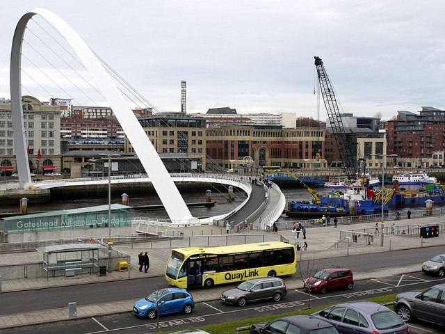 Gateshead Millennium Bridge during removal of Vessel Collision Protection System