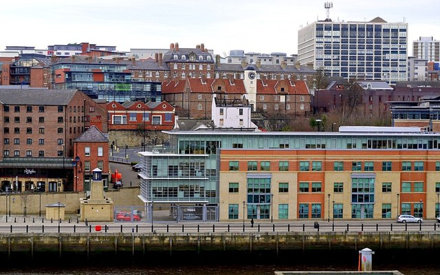 Quayside and City Road from car park east of the Sage