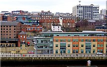 NZ2564 : Quayside and City Road from car park east of the Sage by Andrew Curtis