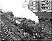 TQ2775 : Victoria - Tunbridge Wells West train (steam-hauled) leaving Clapham Junction. by Ben Brooksbank