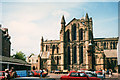 NY9364 : Hexham Abbey from the marketplace by Stephen Craven