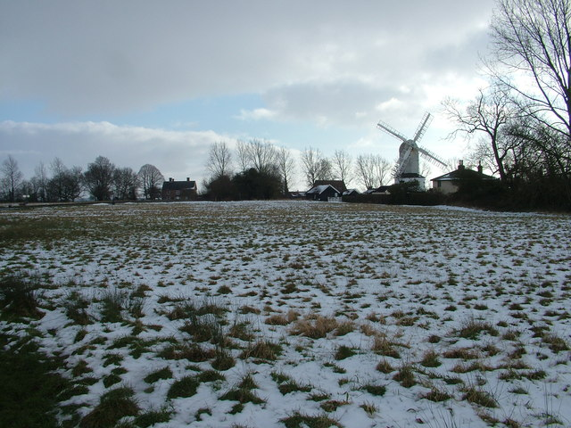 Saxstead mill and snowy green