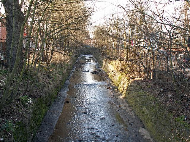 The Bourn Brook, upstream of Bournbrook Road, Bournbrook