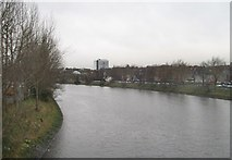 J3472 : The River Lagan on the upstream side of the Ormeau Road Bridge by Eric Jones