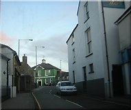 SM9537 : Fishguard: West Street, looking through to the Town Hall by Helena Hilton