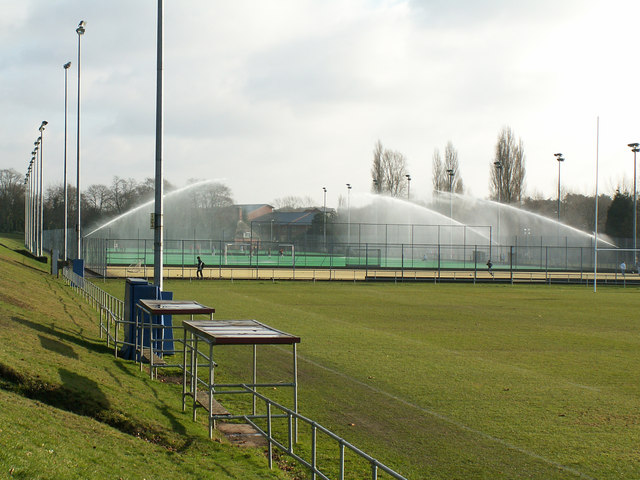 Floodlit sports pitches at the University of Birmingham