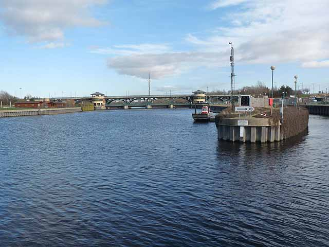 Entrance to the navigation channel at the Tees Barrage
