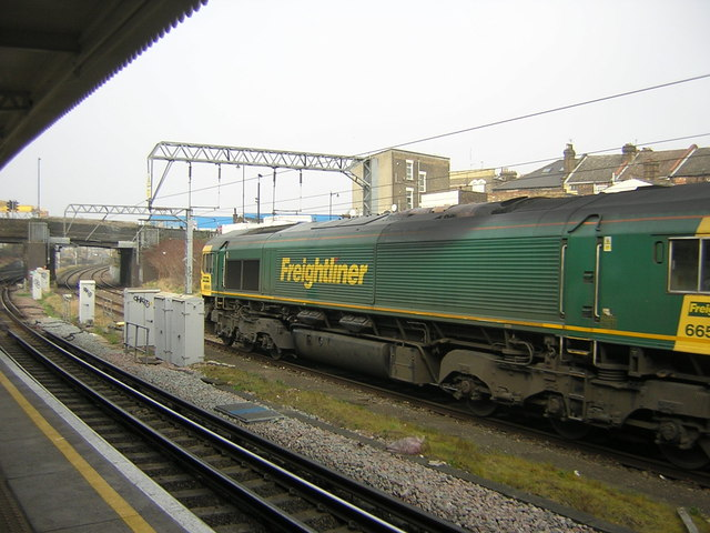 Freight train passing Willesden Junction