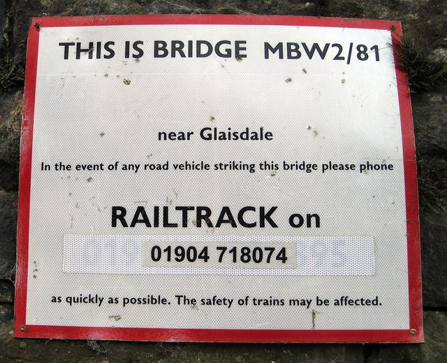 Railway bridge ID sign