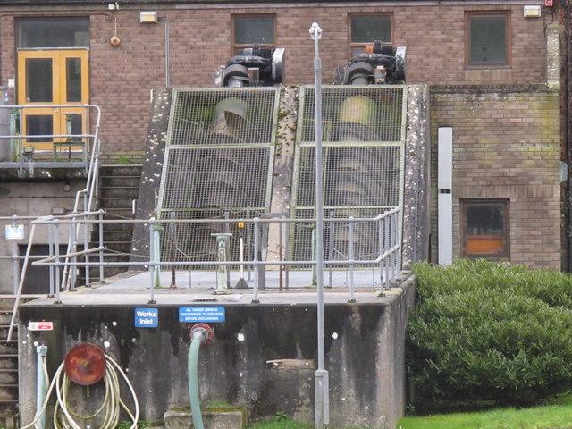 Archimedes screw pump at Wadebridge sewage works