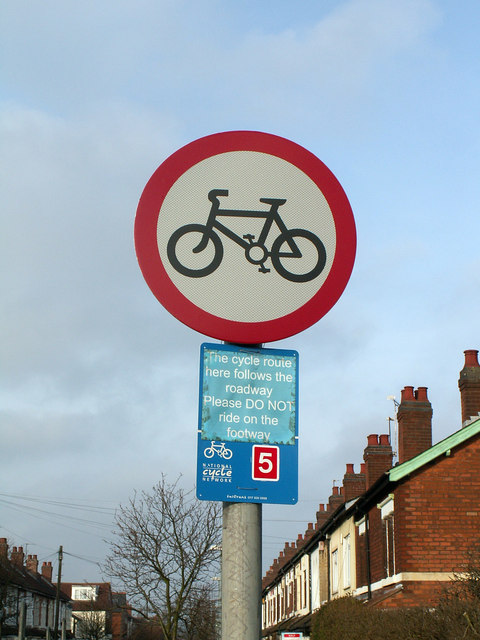 No Cycling sign on Cecil Road, Selly Park