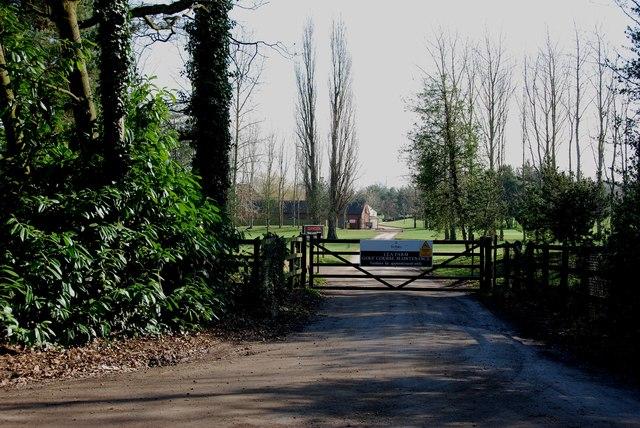 Entrance to Lea Farm Golf Course Maintenance Depot
