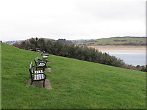 SW9276 : Benches await summer visitors, Padstow by David Hawgood