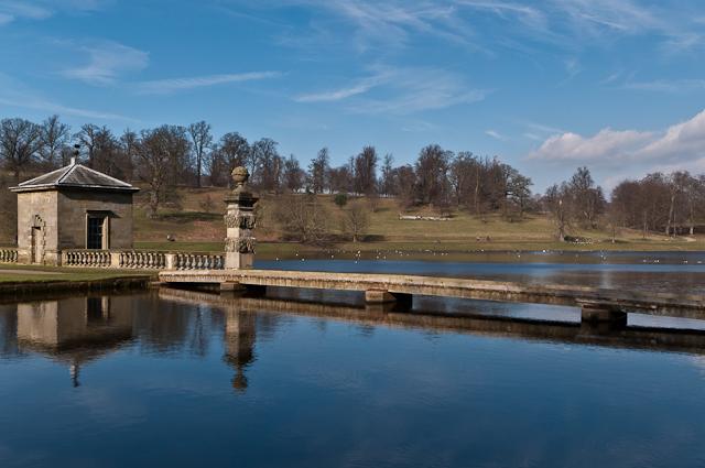 Fishing pavilion and bridge,The Lake, Studley Park