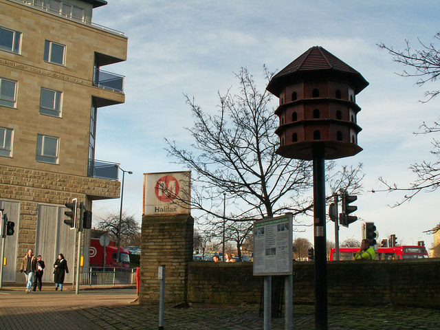 Dovecote outside Halifax Bus Station