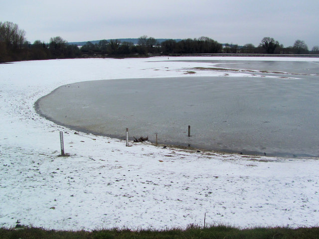 Snow and Ice on Startops Reservoir at low water