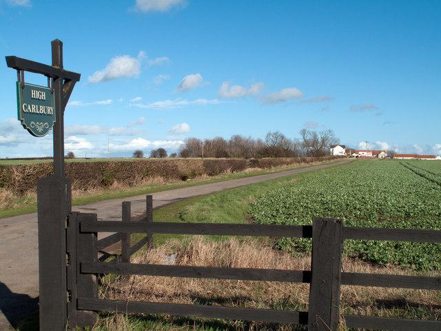 Farm access road leading to High Carlbury