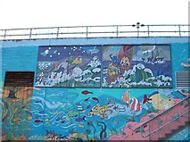 J3829 : Murals on the side of the Newcastle Sewage Plant by Eric Jones