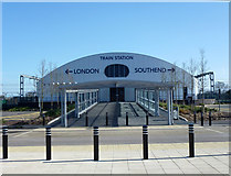 TQ8789 : Southend Airport Railway Station by terry joyce