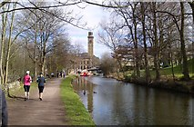 SE1338 : Titus Salt's Mill and Model Village at Saltaire, between the Leeds and Liverpool canal and the River Aire by Chris Morgan