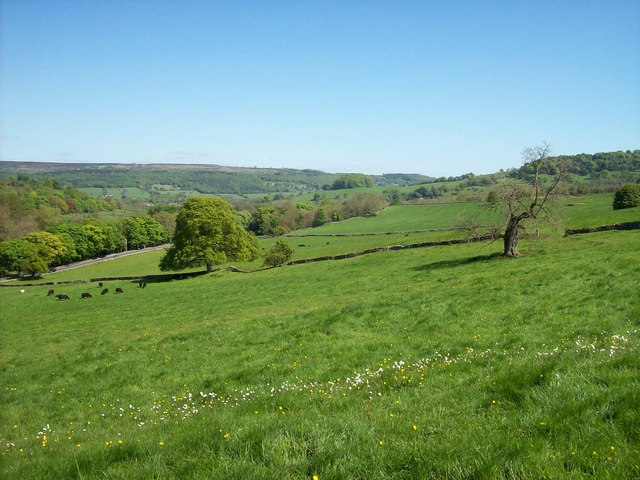 View down the Wye valley at  Haddon Hall