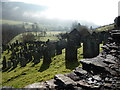 SH8514 : View over the cemetery in Dinas Mawddwy by Jeremy Bolwell
