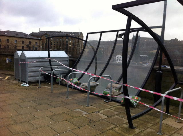 A damaged cycle shelter, Halifax railway station