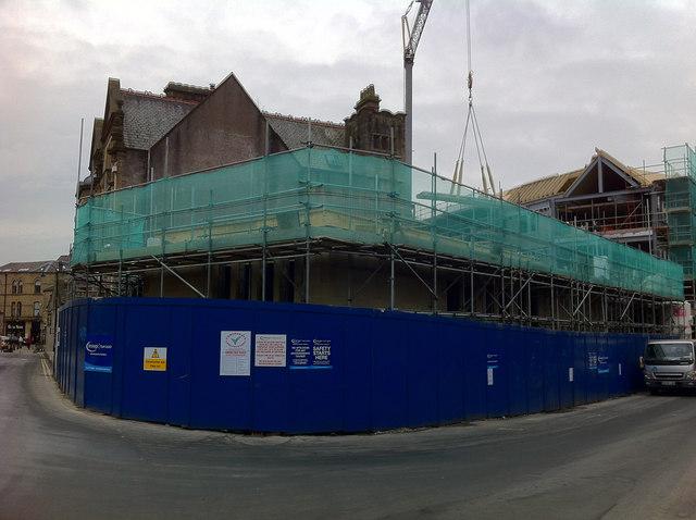 New building under construction next to Hebden Bridge Town Hall