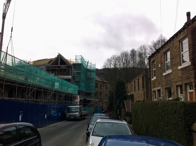 New building under construction next to Hebden Bridge Town Hall