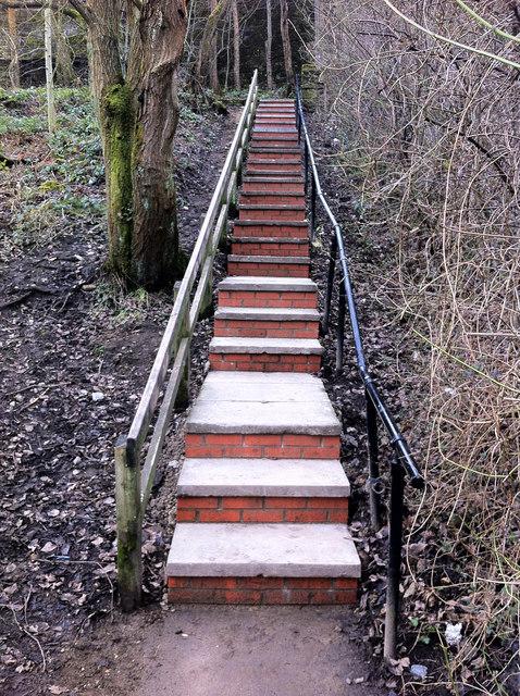 Rebuilt steps on footpath between Holme Street and Shelf Road, Hebden Bridge