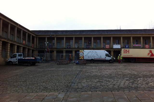 Drilling a borehole at the Piece Hall Halifax