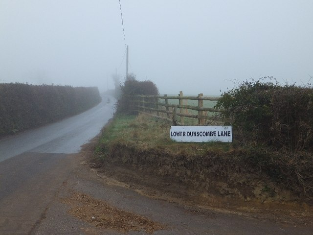 A misty day at Lower Dunscombe Lane