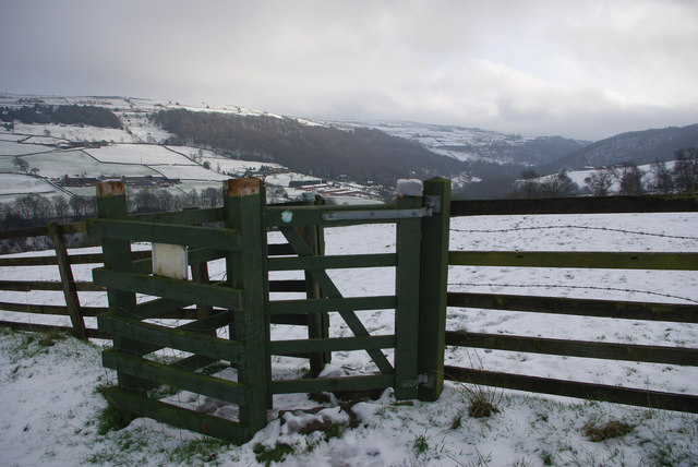 Kissing gate on footpath towards Hollock Lee Bottom