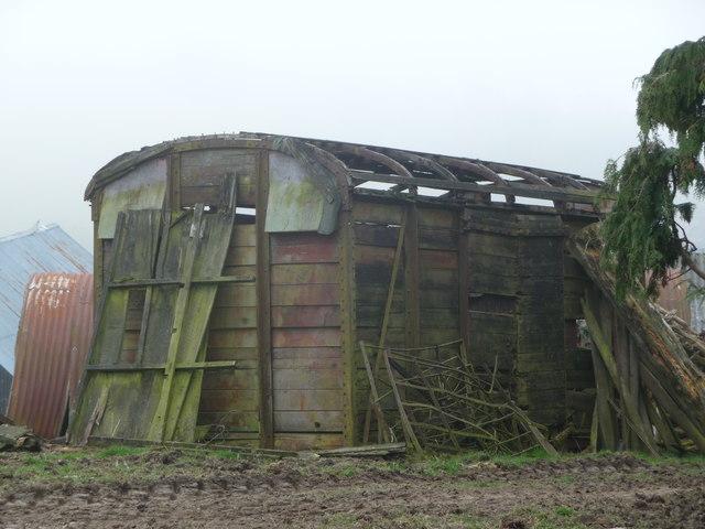 Old railway wagon on a farmyard at Green Shutters farm