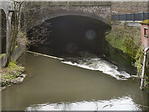 SJ8499 : River Irk, Culvert at Ducie Bridge by David Dixon