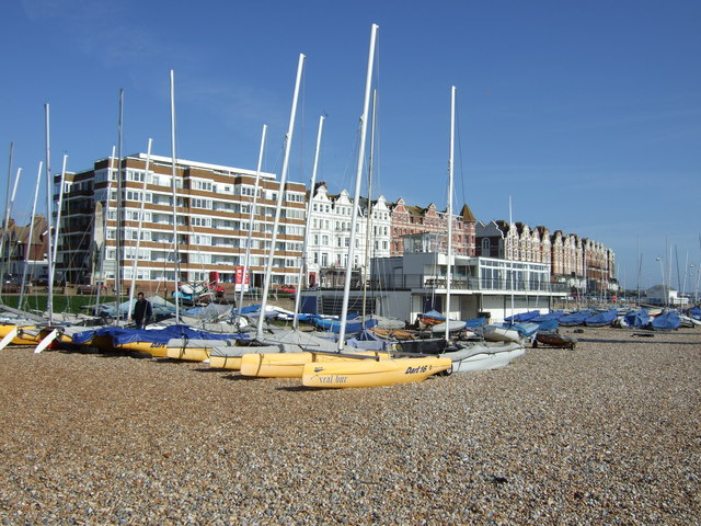 Yachts on the beach, Bexhill