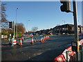 SJ8292 : Road works at the junction of Barlow Moor Road, Mauldeth Road West and Hardy Lane, Chorlton by Phil Champion
