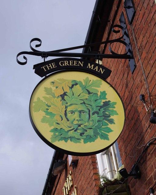 The Green Man (2) - sign, High Street, Swindon, Staffs