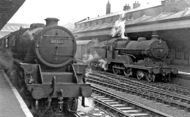 Scene at Nottingham Midland Station, with contrasting locomotives by Ben Brooksbank