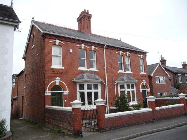 Redbrick Victorian houses in Mount Street, Mountfields, Shrewsbury