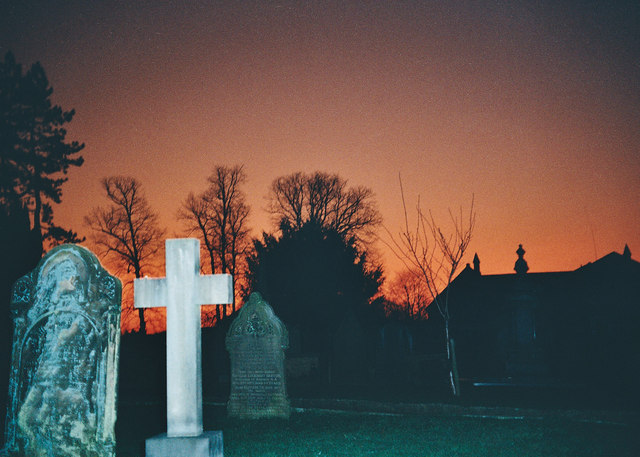 Red Sunset Whalley Church Yard