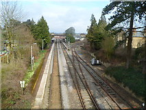 ST9897 : Kemble railway station viewed from Station Road bridge by Jaggery