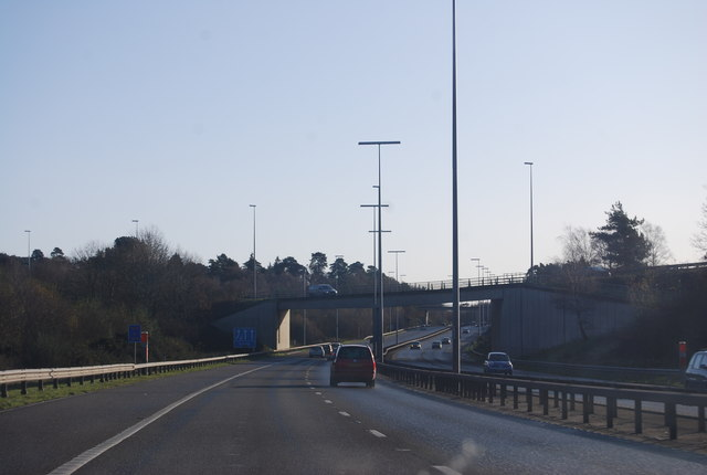 Slip road from the M3 crossing the M27