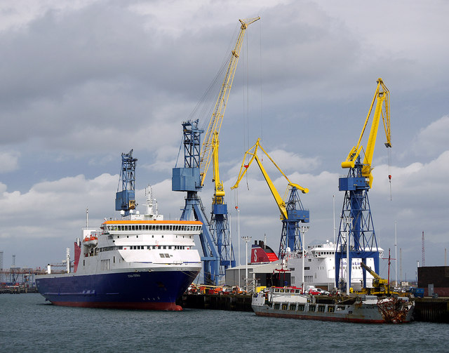 Three ships at the Belfast Dry Dock