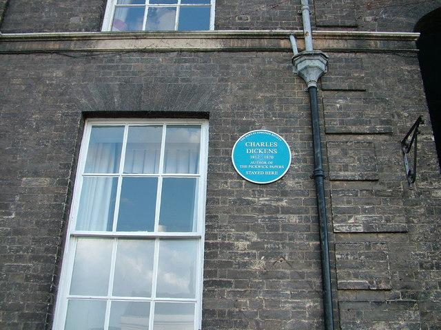 Dickens' blue plaque